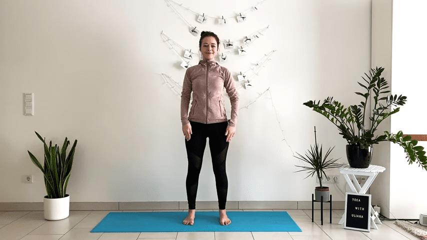 5 MIN STANDING MORNING YOGA STRETCH Yoga without mat Yoga with Uliana 0 28 screenshot